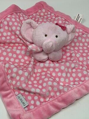 Details about Carters Plush Pink Polka Dot Elephant Baby Security Blanket Lovey Washable #securityblankets