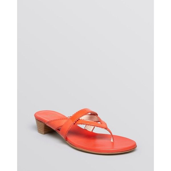 Stuart Weitzman Thong Sandals - Triango Low Heel ($171) ❤ liked on Polyvore featuring shoes, sandals, poppy aniline, stuart weitzman, toe thongs, small heel shoes, flat thong sandals and summer shoes