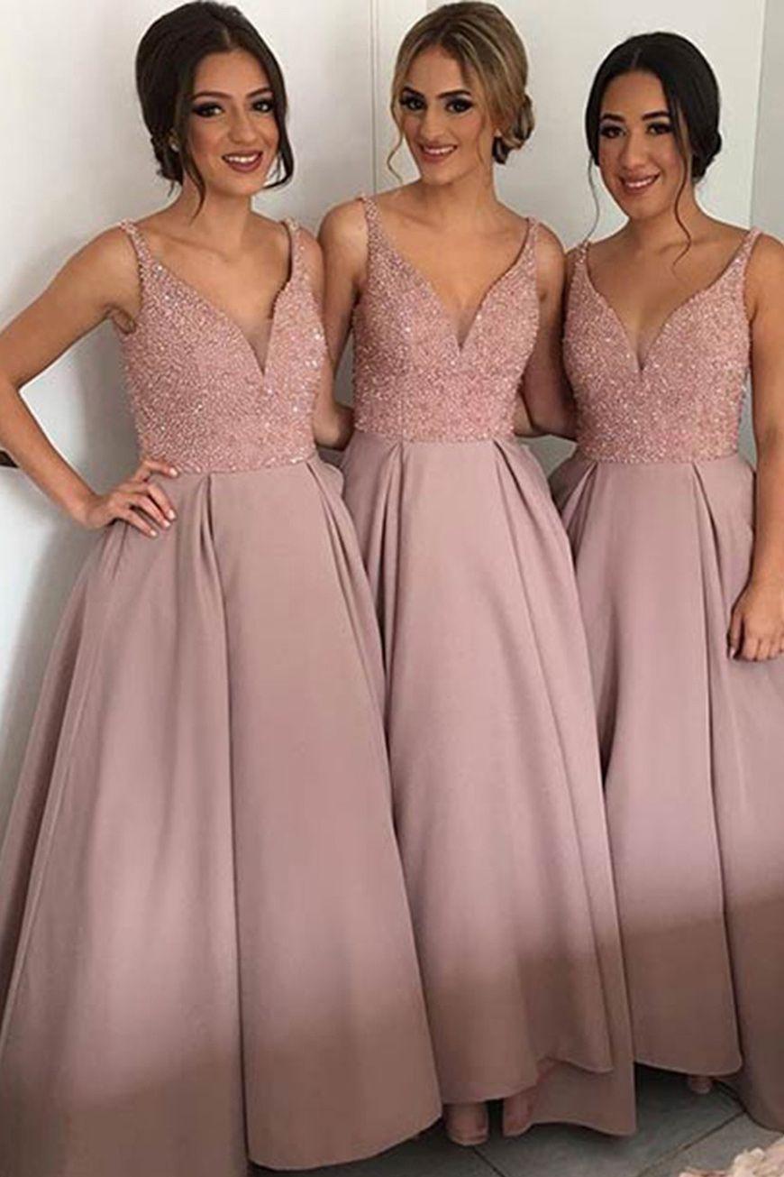 Bridesmaid Dress,Elegant Blush V-Neck Satin Bridesmaid Dresses for ...