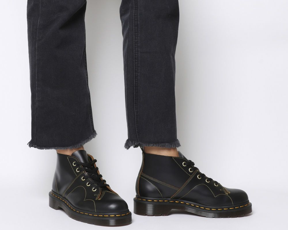 Womens Dr. Martens Church 5 Eye Monkey Boots Black Vintage