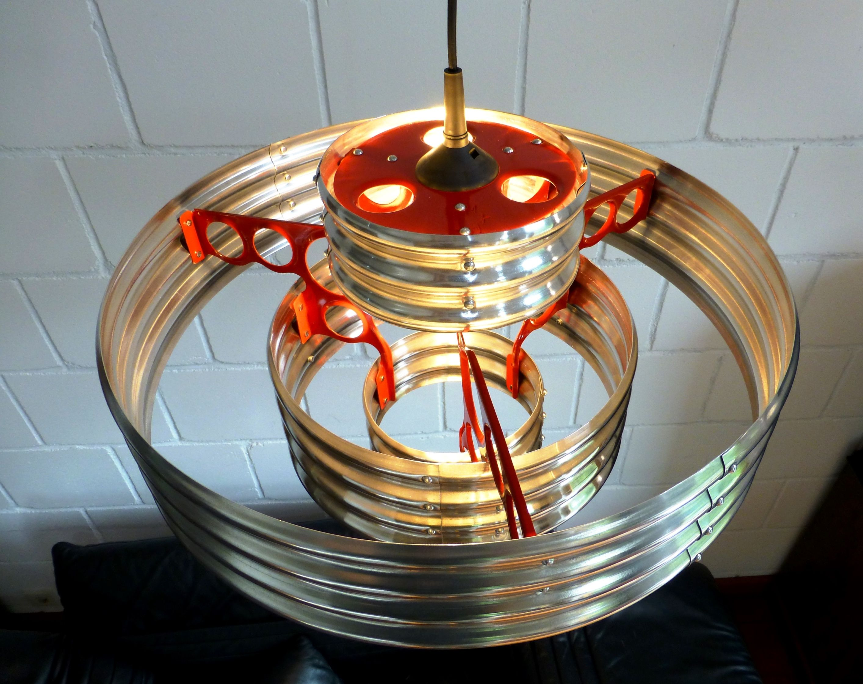 corrugated metal pendant lamp, view from upside. Design: AERO-1946