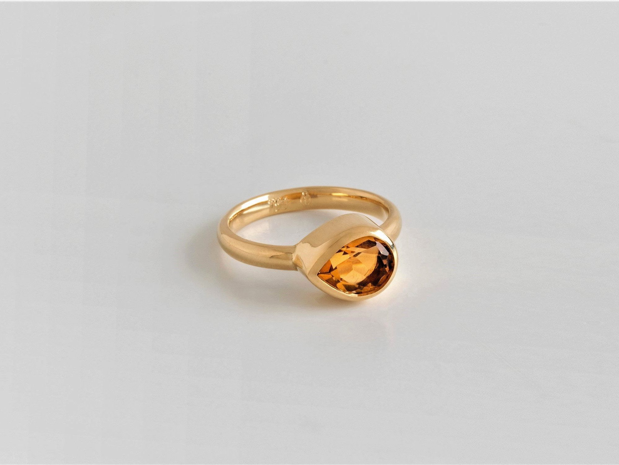 Citrine Ring Prong Ring Gemstone Ring November Birthstone Gits for Women Argentium Sterling Silver Ring Yellow Ring Solitaire Ring
