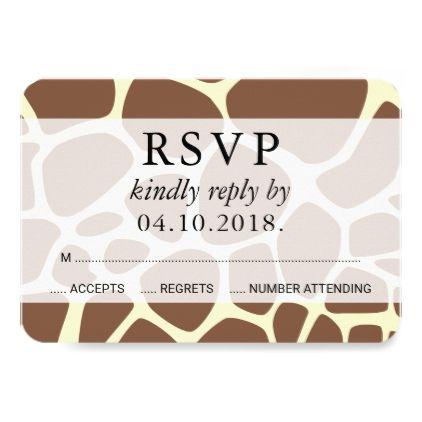 Rsvp animal print giraffe brown yellow card wedding rsvp animal print giraffe brown yellow card wedding invitations cards custom invitation card stopboris Images