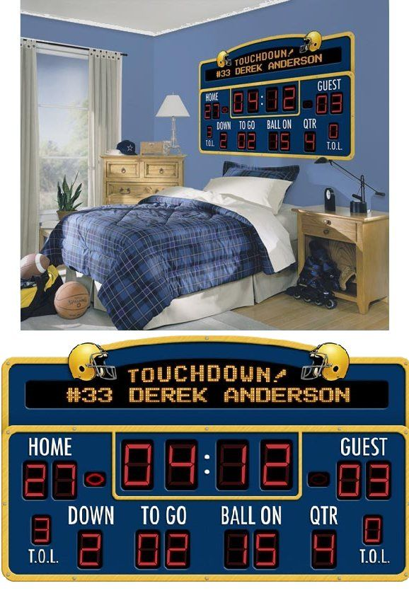 Football Scoreboard Peel And Stick Wall Mural   Kids Decorating Ideas