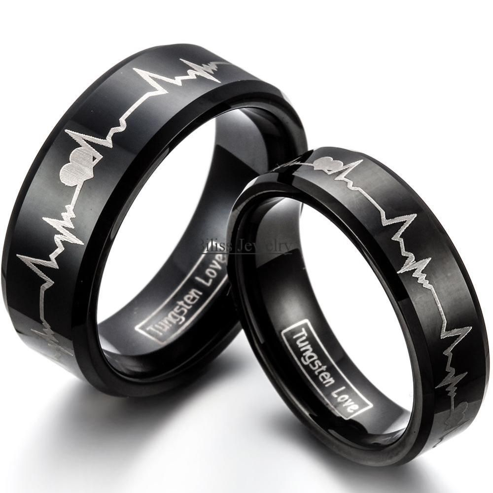 Fashion Black Tungsten Carbide Ring With Laser Engraved Forever Love