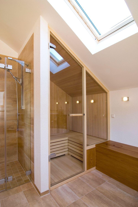 Badezimmer Mit Sauna Musterhaus R Frammelsberger Eine Eigene Sauna Ist Eine Perfekte Erganzung In In 2020 Badezimmer Mit Sauna Badezimmer Dachschrage Badrenovierung
