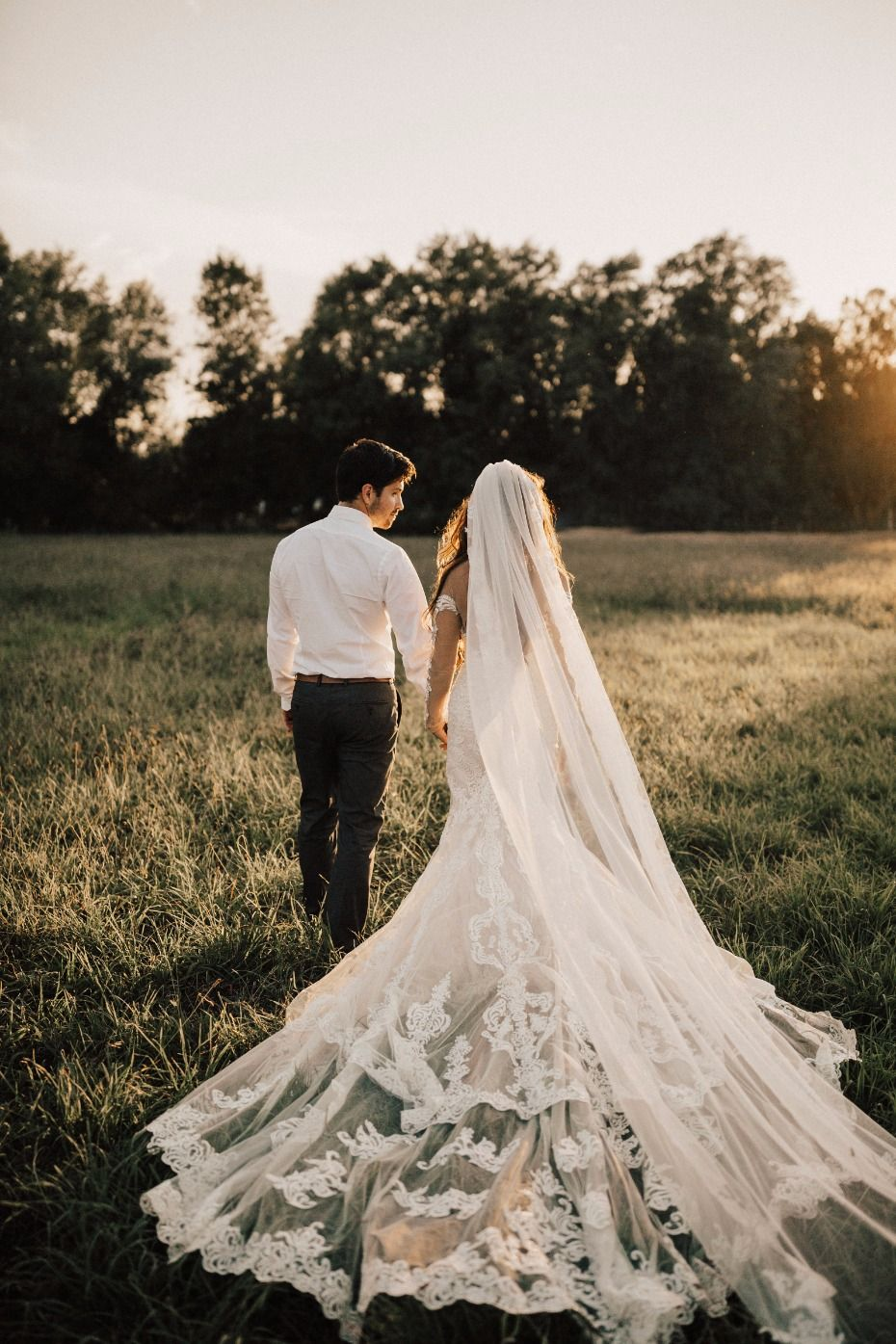 Long lace wedding dress  Our k Rustic Chic Idaho Wedding  Lace weddings Weddings and