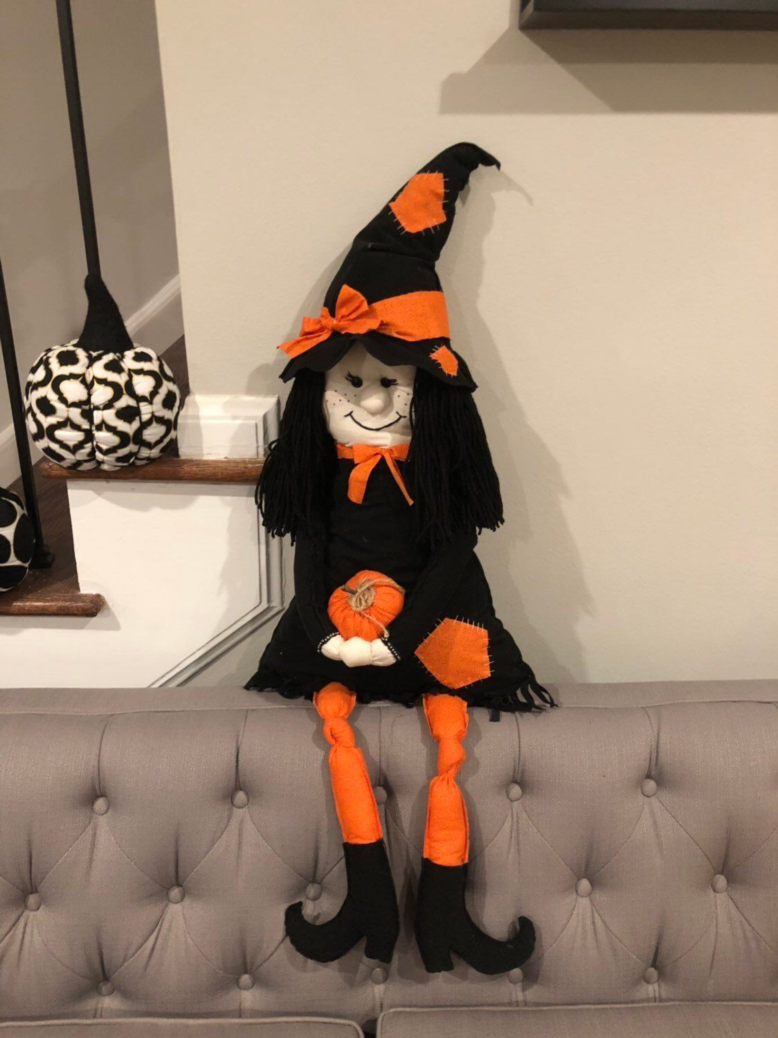 d9f867e6 Excited to share this item from my #etsy shop: Handmade Halloween Witch -  can hang or sit this bewitched fabric witch, seasonal decor, cloth fabric  witch, ...