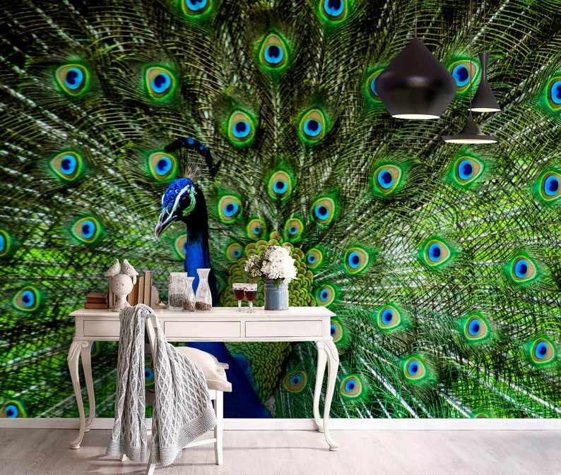 3d Gorgeous Peacock Feather Wallpaper Removable Self Etsy Feather Wallpaper Feather Wall Mural Wallpaper