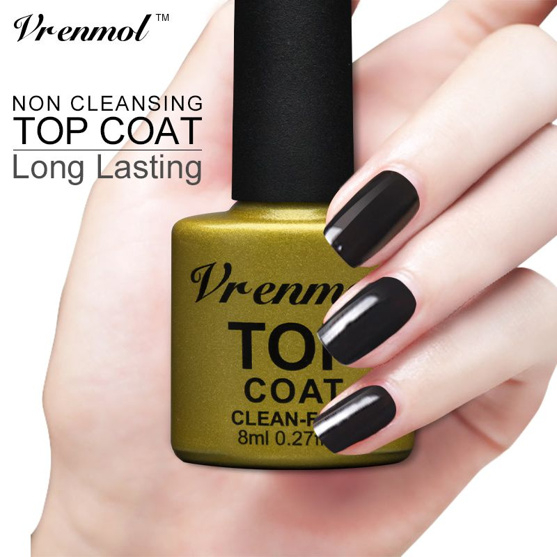 Vrenmol Nail Gel Polish Soak Off Uv Top Coat Base Long Lasting Lacquer Non Cleaning Finish Affiliate