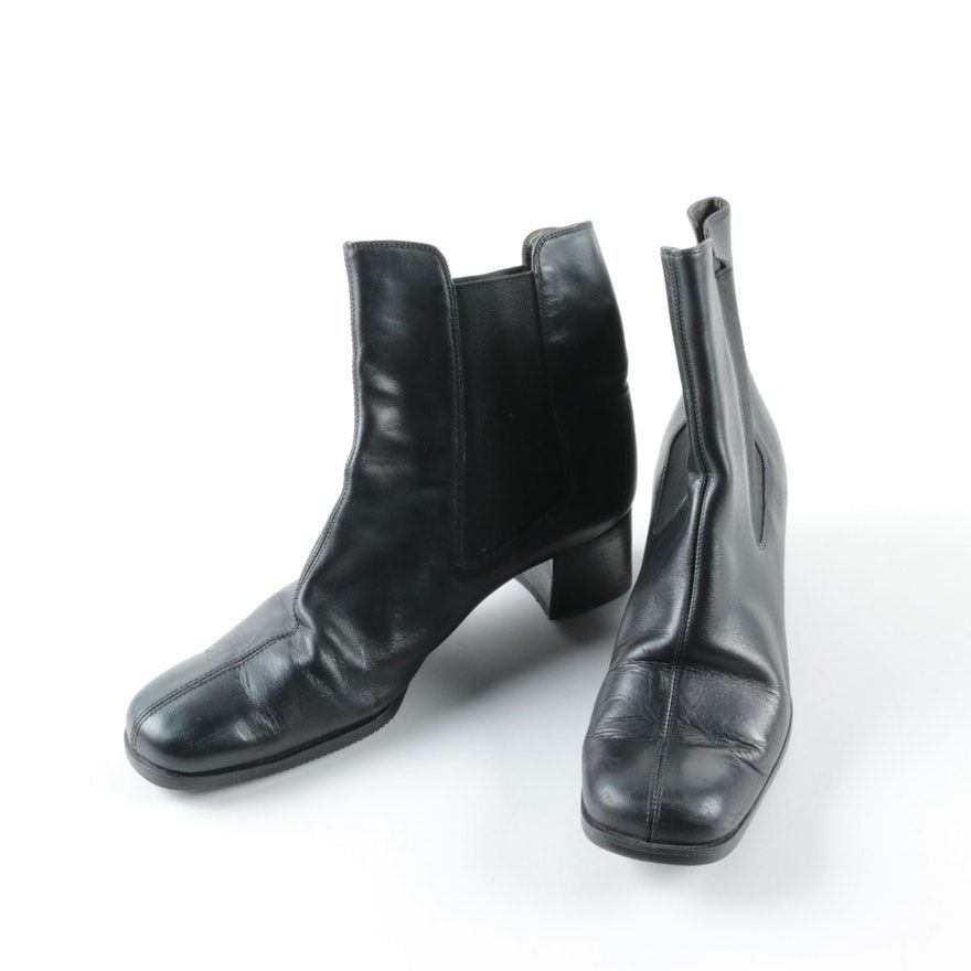 Women s Salvatore Ferragamo Black Leather Ankle Boots   EBTH 800c5532ca35b