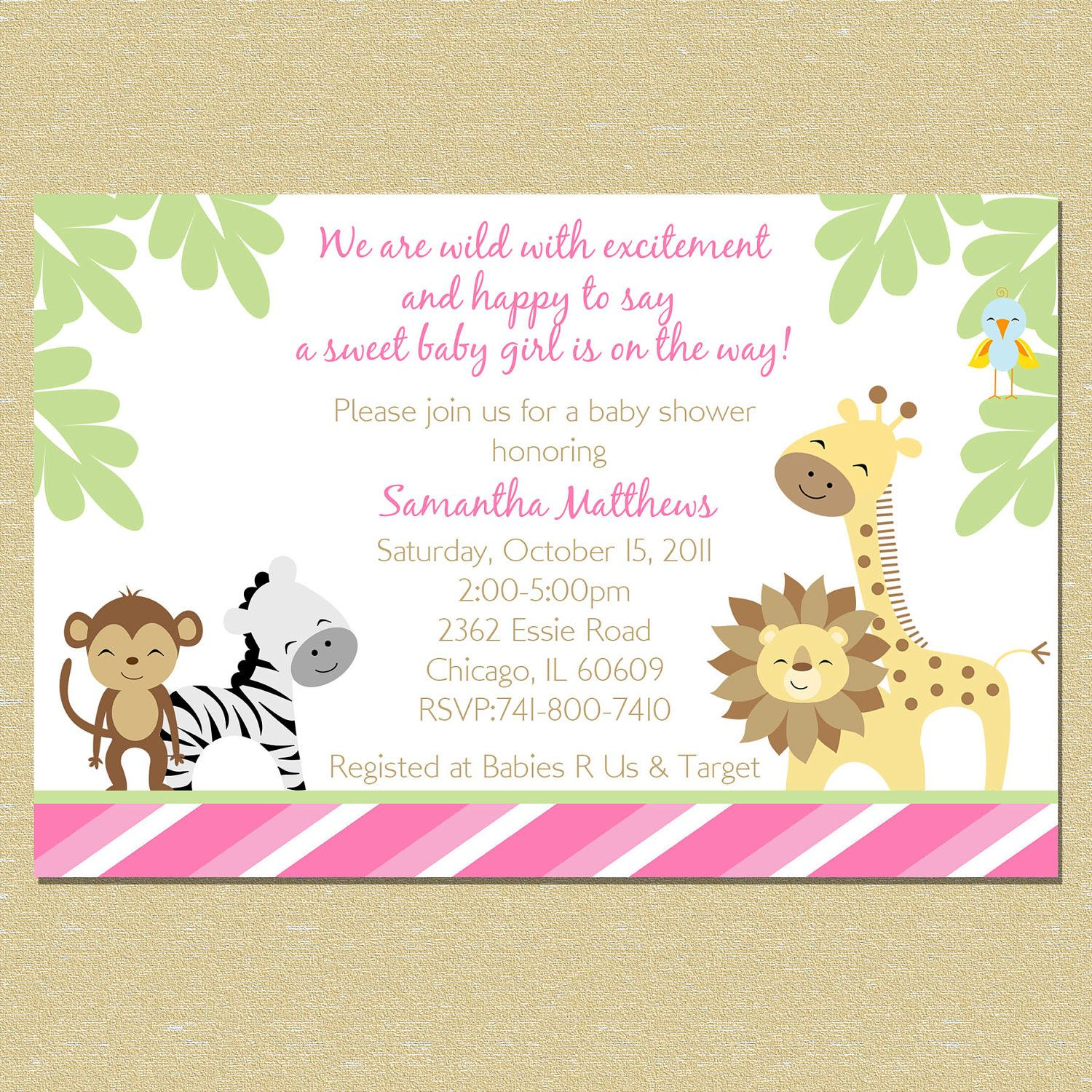 Divine Safari Animals Baby Shower Invitations Baby Boy Shower Divine ...