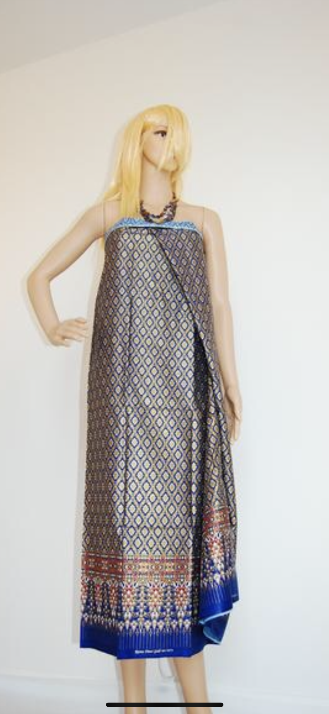"Malong"" as a strapless long dress. 