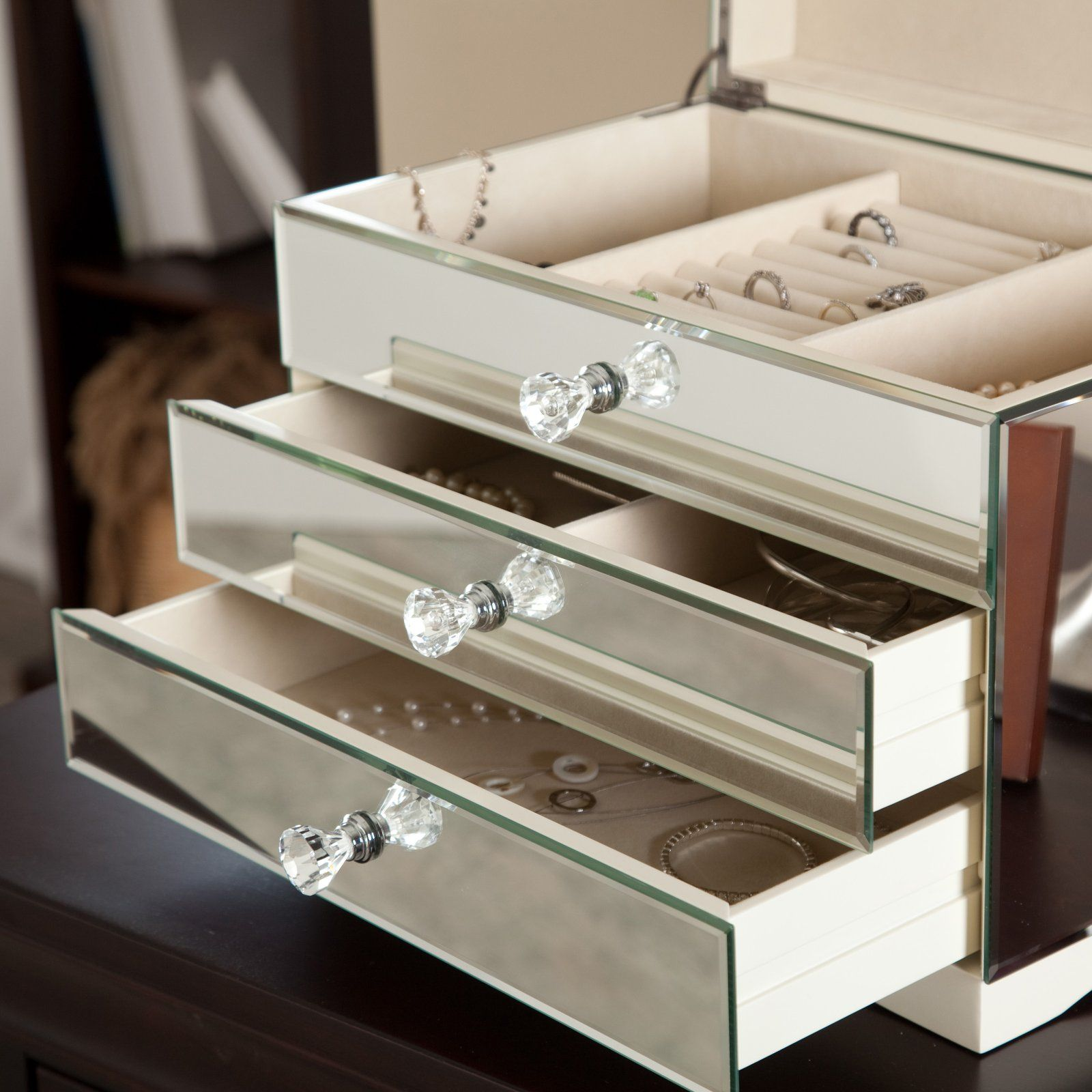 jewelry boxes with mirrors mina mirrored jewelry box 14 75w x 10 75h in womens 5834