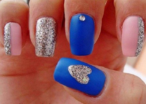 Valentine Nail Art Designs With Pink Blue And Silver Glitter Accent - Valentine Nail Art Designs With Pink Blue And Silver Glitter