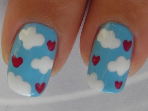 I'm on Cloud Nine ~ Valentine Nail Art Tutorial  I wish my hands were steady enough to do this.