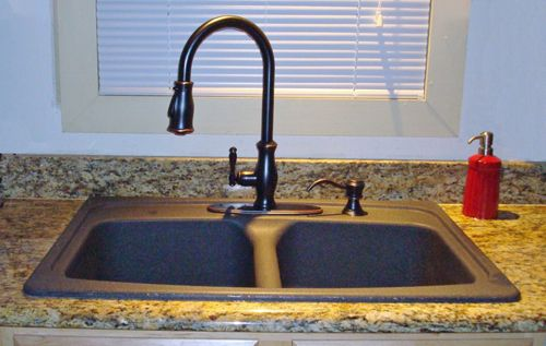 Black Granite Kitchen Sink With Bronze Faucet | Sink Black Kitchen Faucets  The Best Reason To