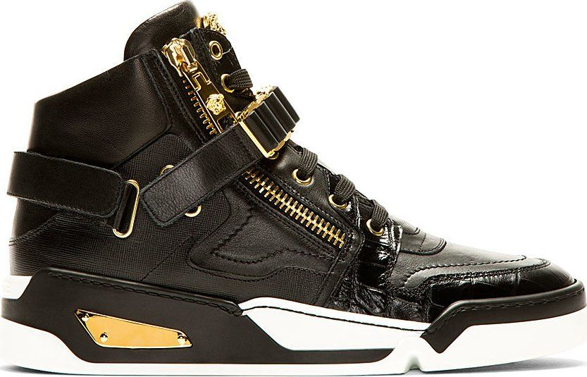 Versace Black Leather High Top Sneakers