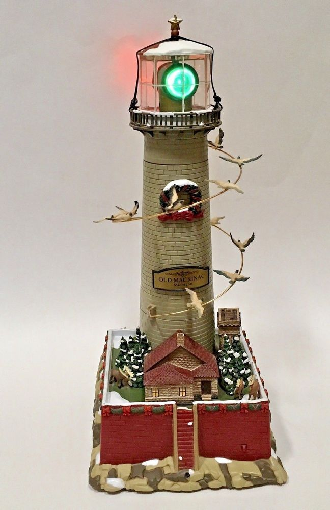 mr christmas lighthouse old mackinac michigan holiday revolving lights sound vtg