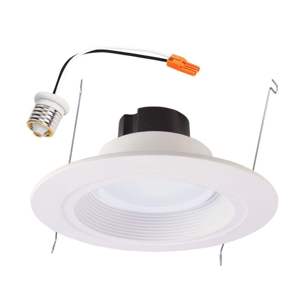 Halo 5 in and 6 in matte white recessed retrofit baffle trim led matte white recessed led retrofit baffle trim 80 cri module with 900 lumens mozeypictures Choice Image