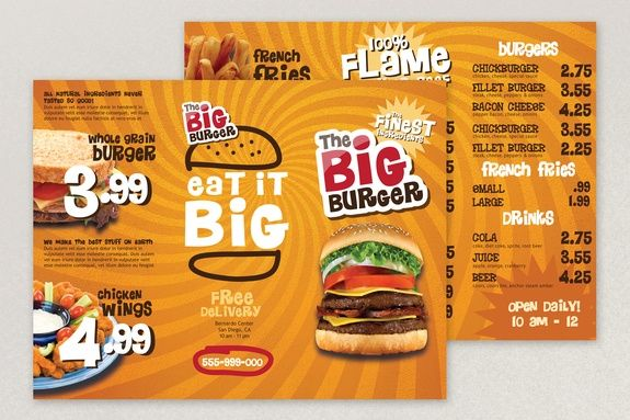Bright Fast Food Menu Template BrochureDesigns  Unique Designs