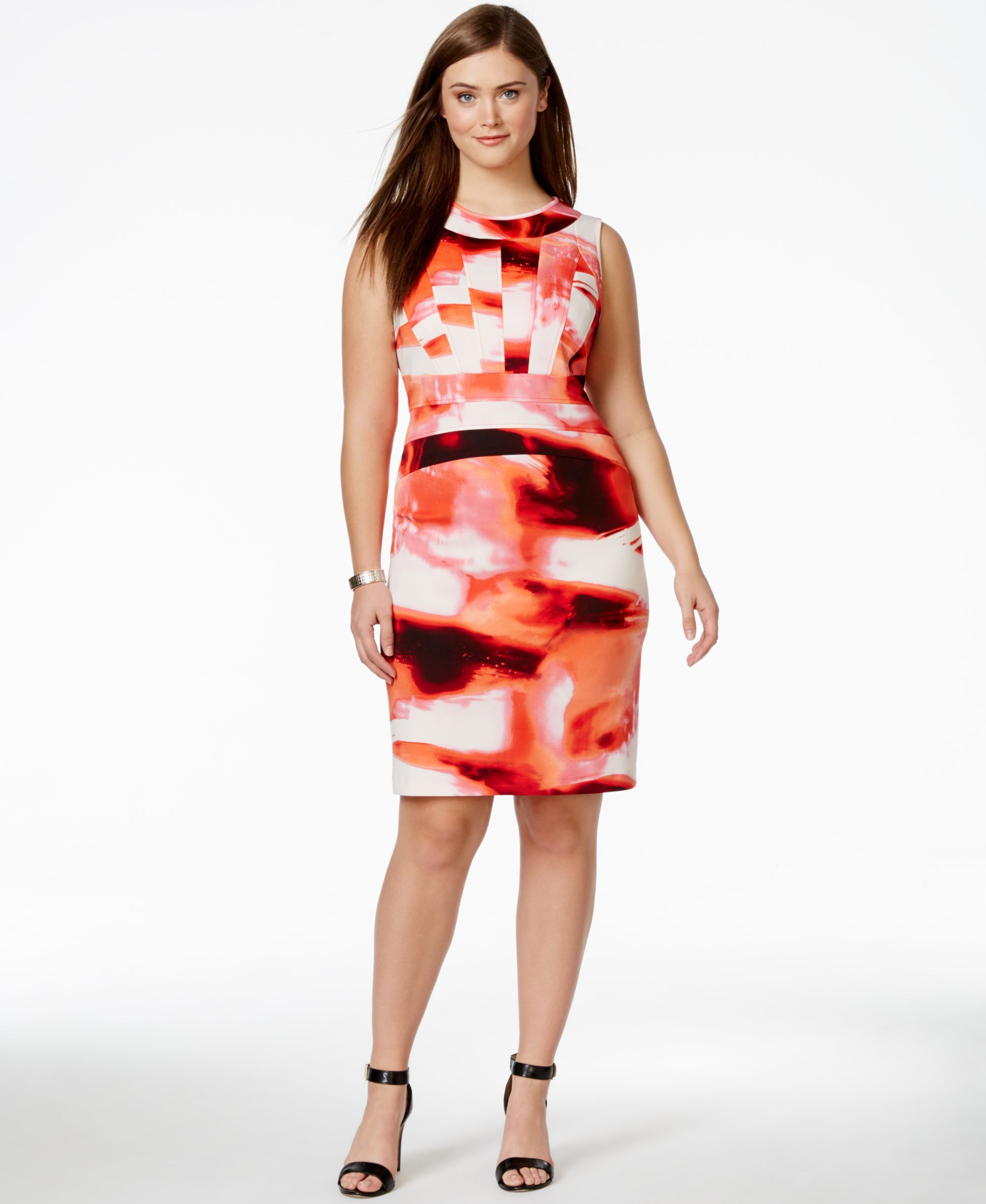 Calvin Klein Plus Size Abstract-Print Sheath Dress