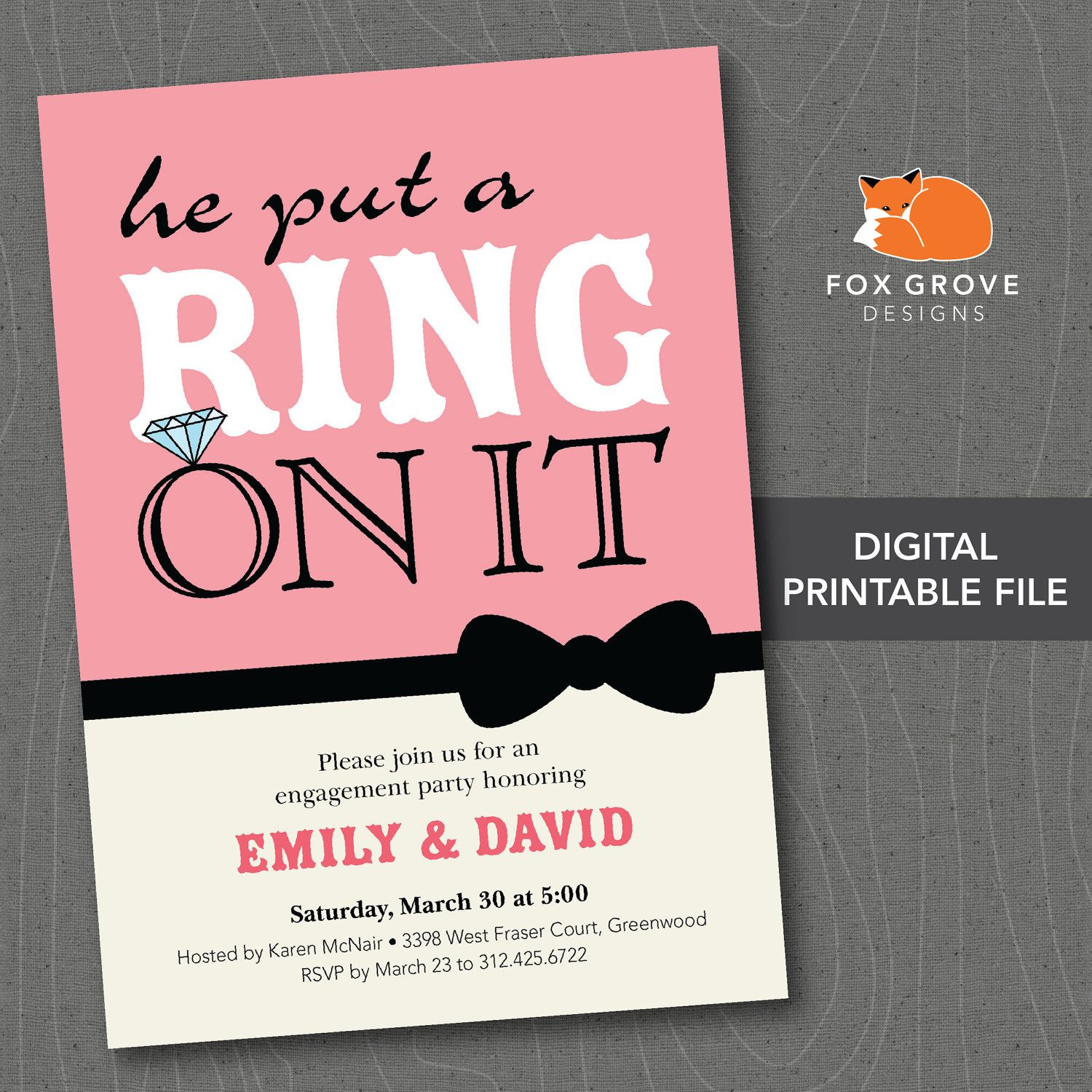 how cute Engagement Party Invitation Announcement Put a Ring