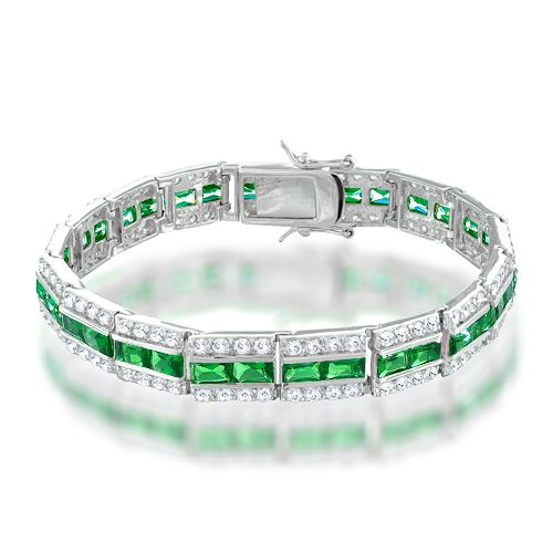 This Clic Yet Affordable Tennis Bracelet Has Emerald Color Baguette Shape Czs In The Middle Of Tiny Round Clear For Ultimate Royal Look