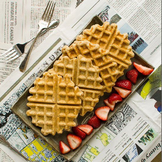Waffles: whole grain, nutty, oats throughout, and full of fiber