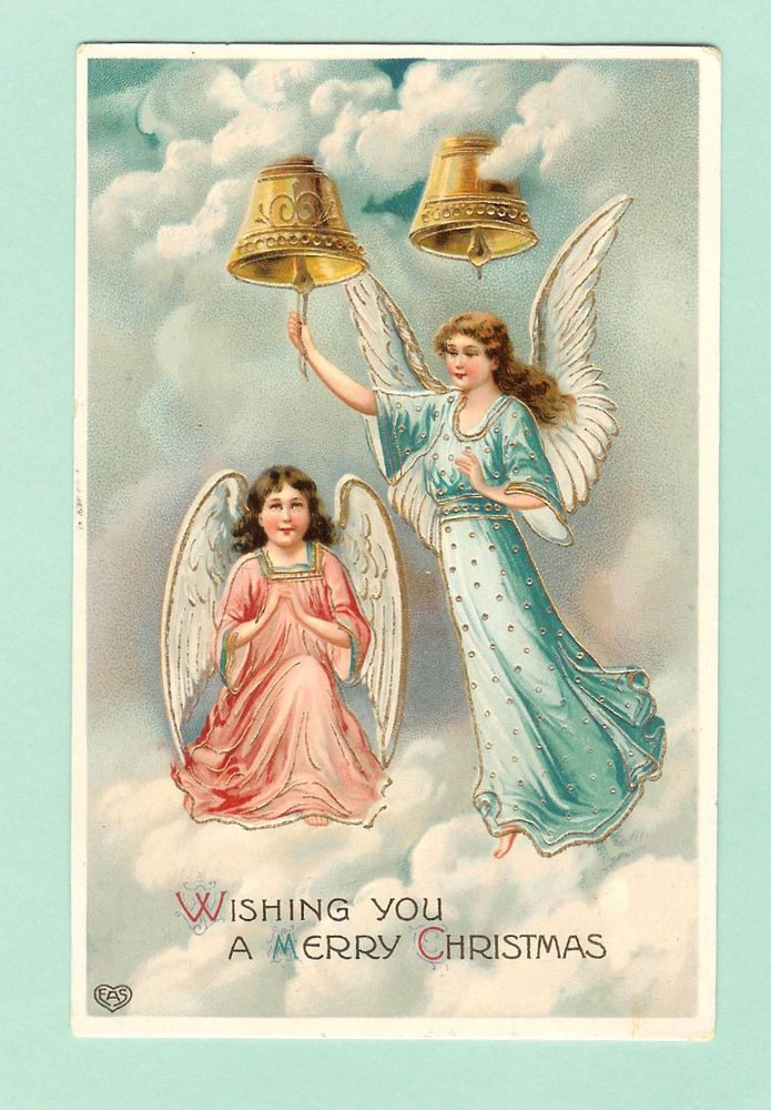 """Circa 1910 EAS """"Wishing You a Merry Christmas""""Gel,Embossed,Gilded,Angels,Bells #Christmas"""