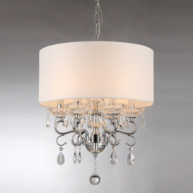 White Round Drum Shade Chrome Finish Crystal 6-light Chandelier Ceiling Fixture #Edvivi #Contemporary
