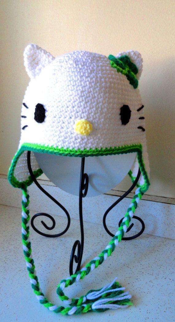 Crochet Hello Kitty & Shamrock Earflap Beanie Hat - Etsy $22.00 ...