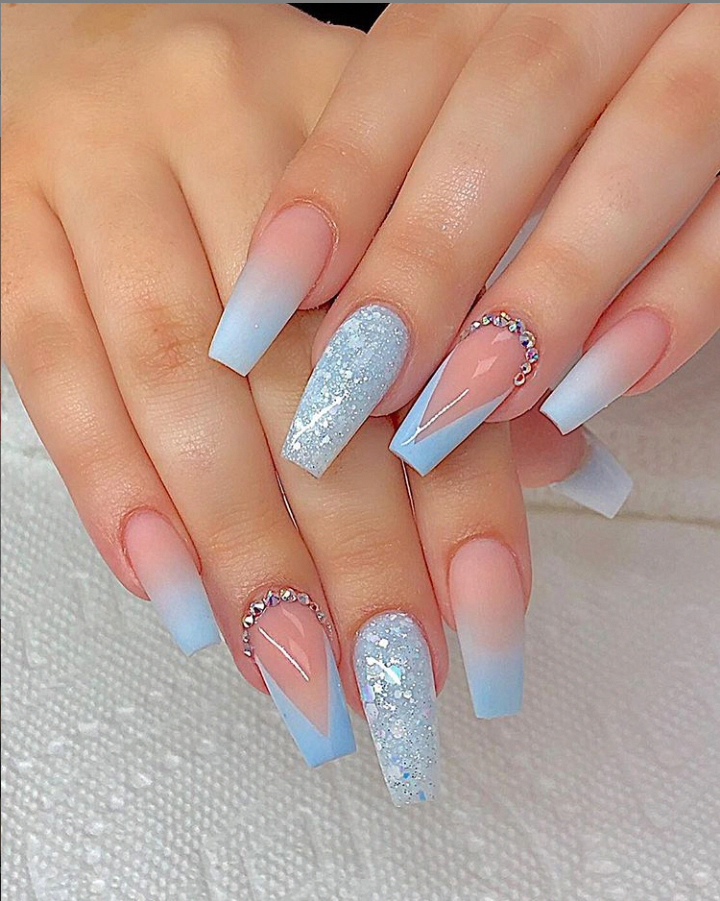Classy Acrylic Coffin Nails Design Light Blue Glitter Coffin Nails Long Ideas Sparkle Glitter Acrylic Coffin Nails In 2020 Coffin Nails Long Nail Designs Nail Colors