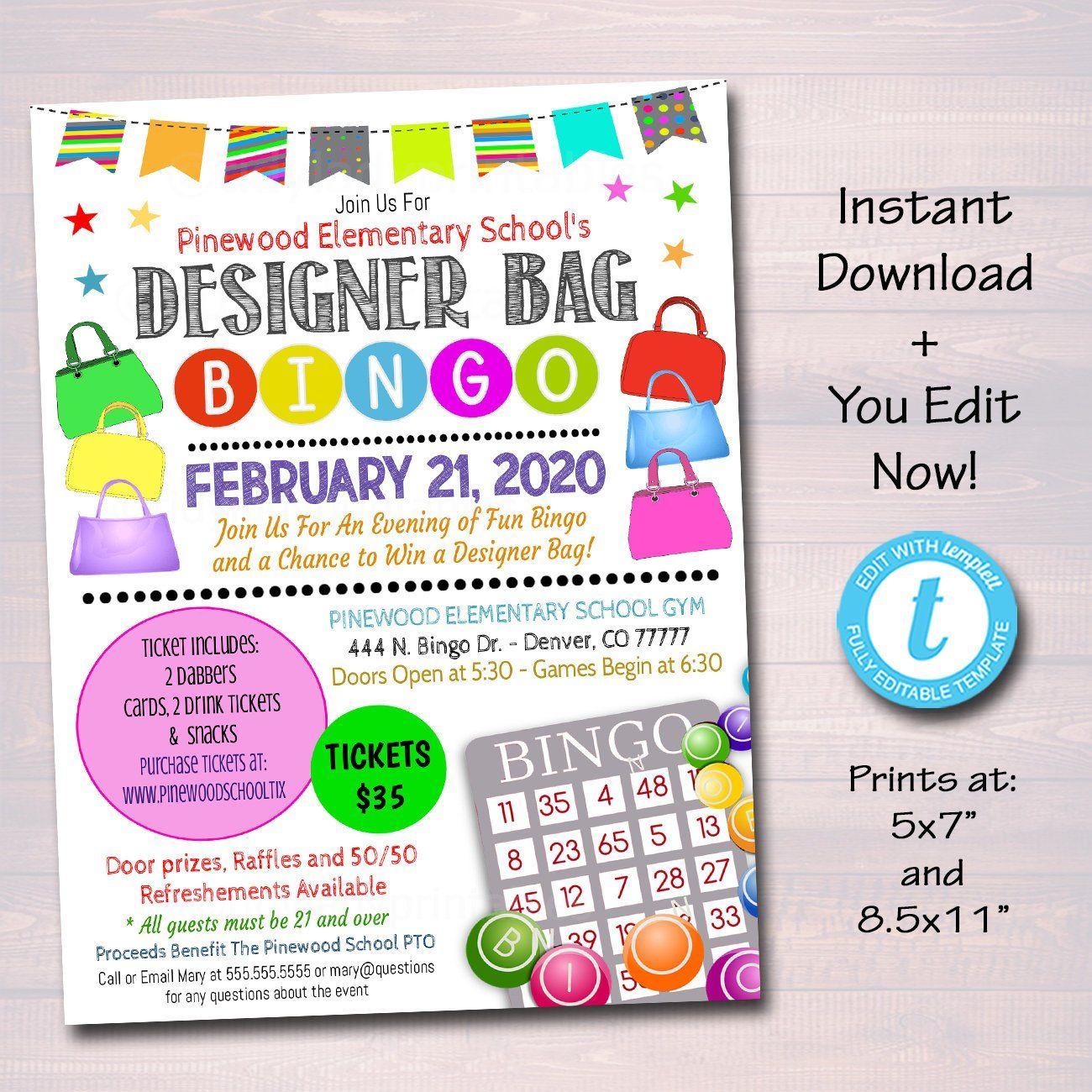 Designer Bag Bingo Night Flyer Printable Template Bingo Bingo Night Flyer