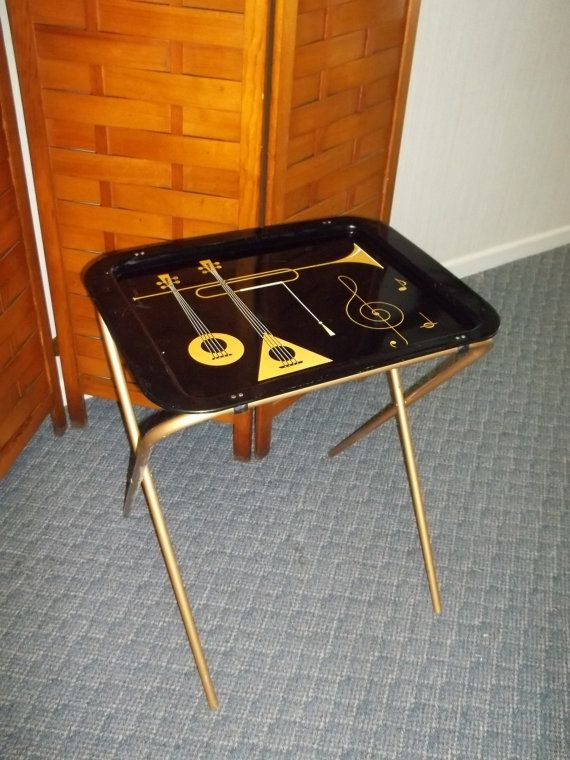 Mod Decor NEW in Box Vintage 1980s Brass TV Snack Tray Modular Coffee Table with Glass Top