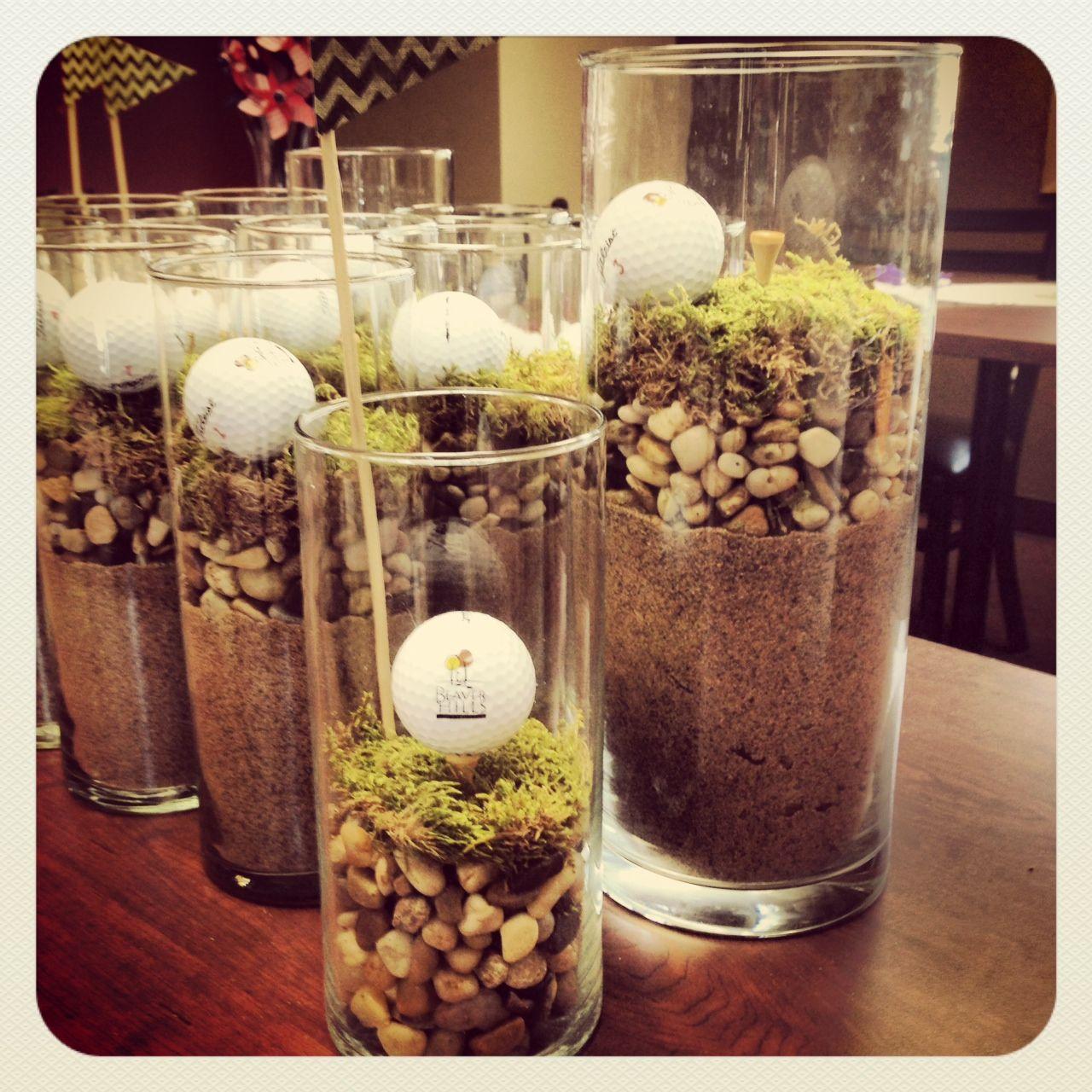 Golf Course Wedding Ideas: Golf Outing Centerpieces