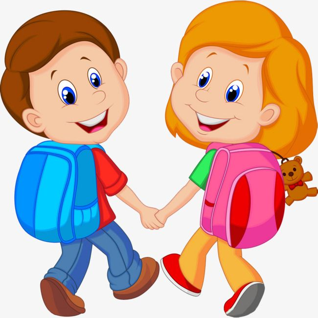 Little Friends Go To School Together School Clipart Go To School