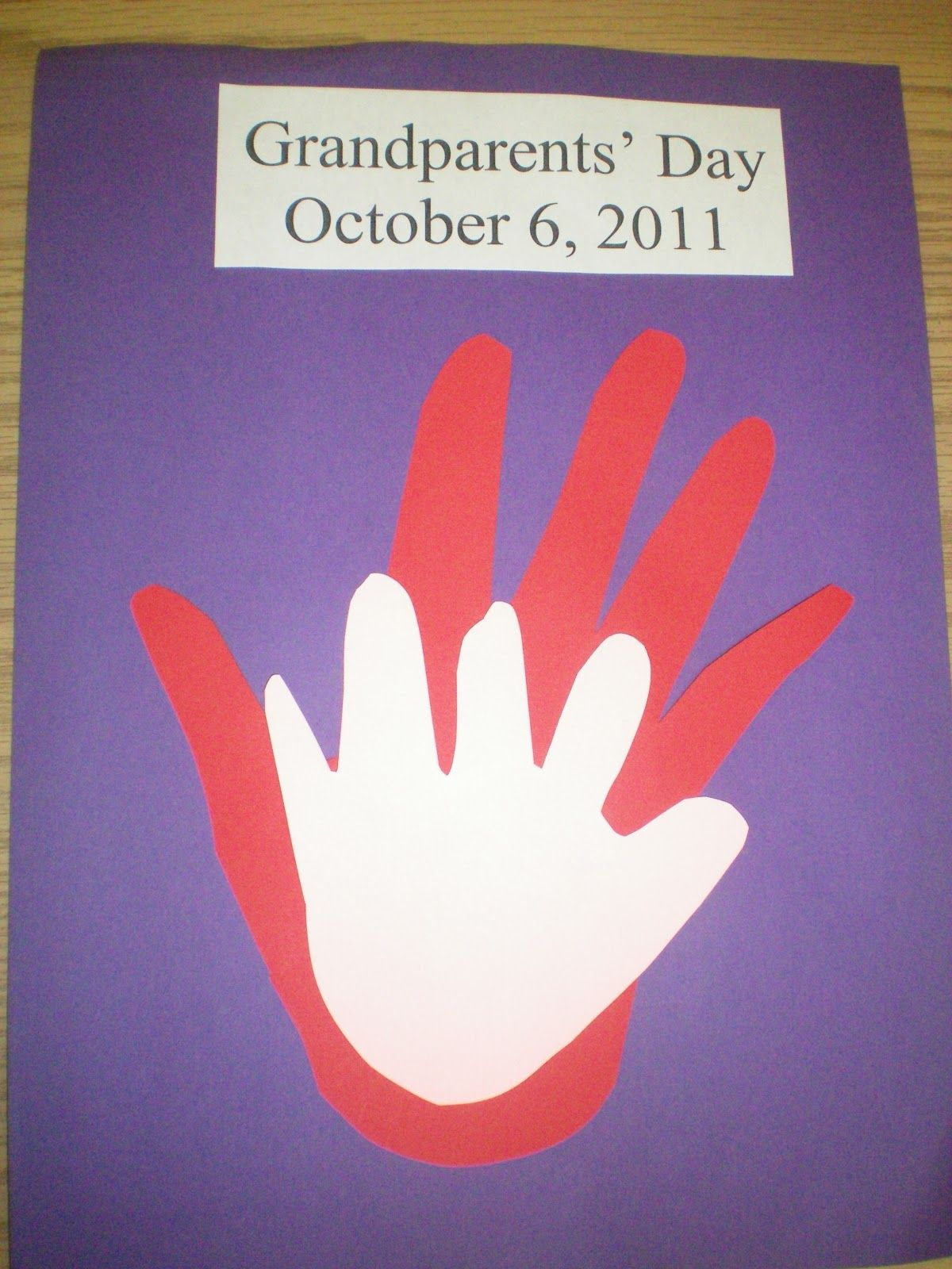 Grandparents Day Craft Ideas For Kids Part - 15: Grandparents Day-fun Craft Activity For Grandparents And Kids To Do  Together. Other Ideas On Linked Page For Activities. Handprint Within A  Handprint.