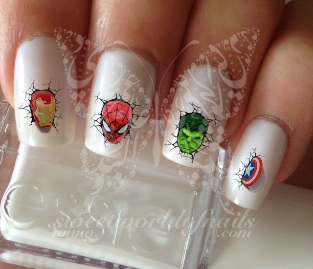 Super Heros Marvel Nail Art Nail Water Decals Transfers Wraps ...