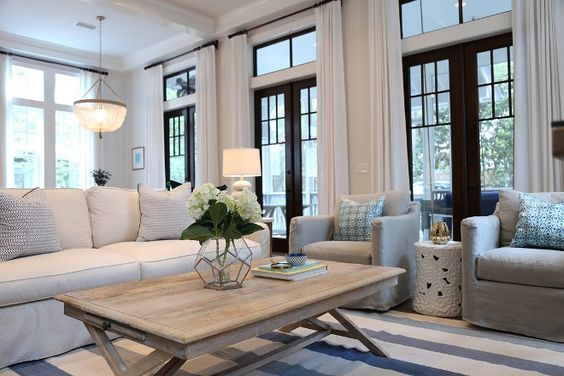 Living Room Furniture Rug And Chairs Beuatiful Slipcovered Sofa Whitewashed Coffee Table Are From Beau Interiors In Grayton Beach Florida