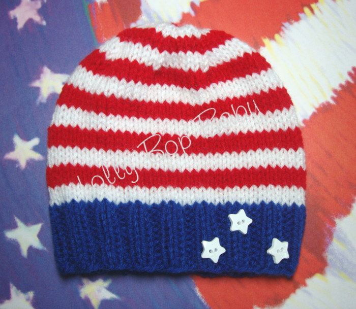 Red, White, and Blue Infant Knit Beanie / Patriotic / USA / Photo Prop /  Summer Celebration. $20.00, via Etsy.