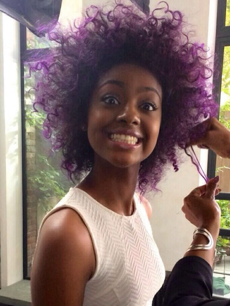 Black Girl With Purple Hair Tumblr Girl With Purple Hair Natural Hair Styles Curly Hair Styles