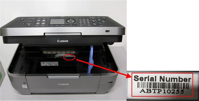 find canon printer serial number