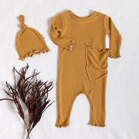 Photo of Mustard yellow ruffle hem romper, baby girl clothes, baby girl clothes, baggy pocket romper, spring baby clothes – snapless romper.