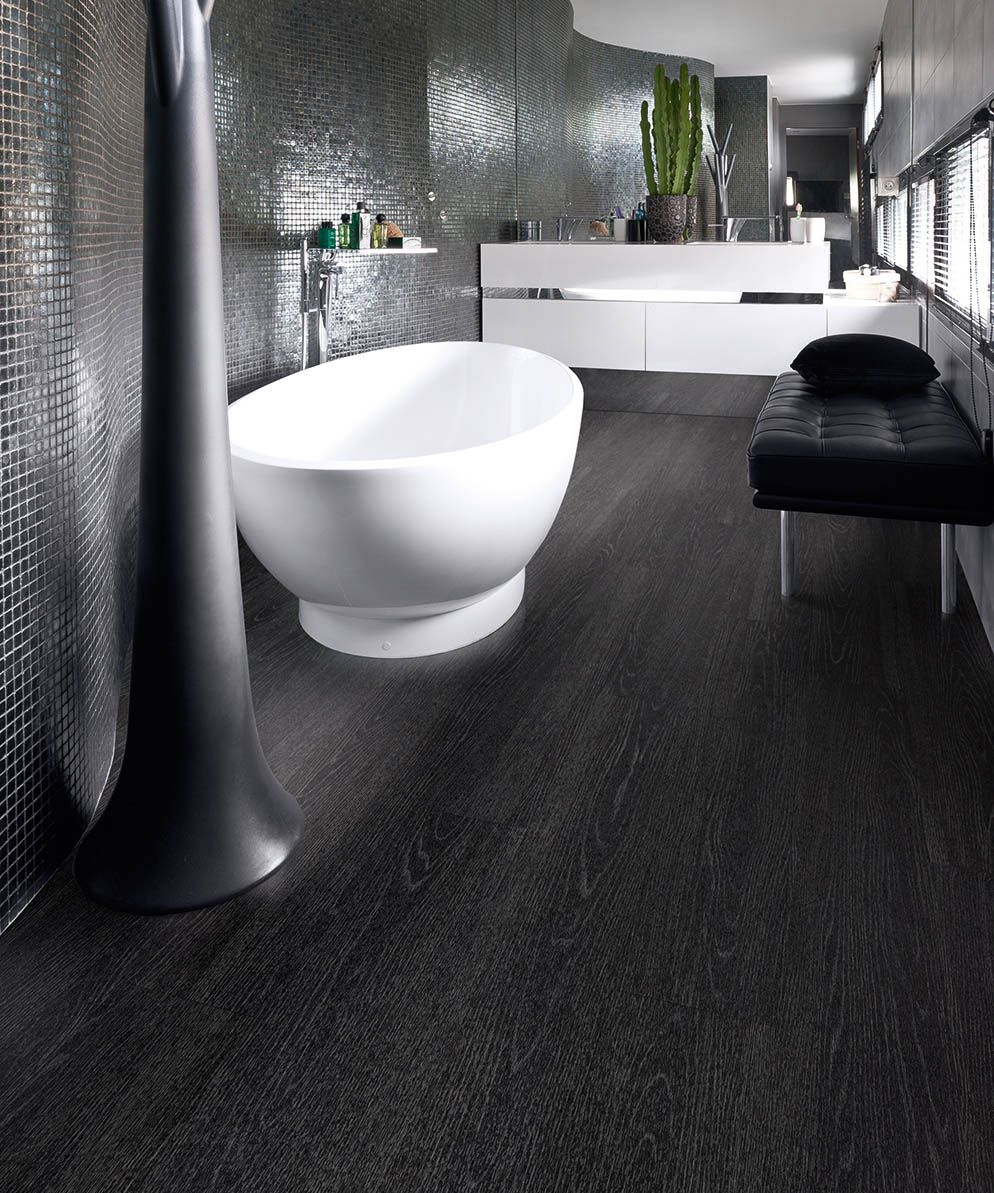 Polyfloor Affinity Jet Black Ash Is The Perfect Choice For Anybody Looking To Make A Statement With Their Vinyl Flooring Black Vinyl Flooring Luxury Vinyl Tile