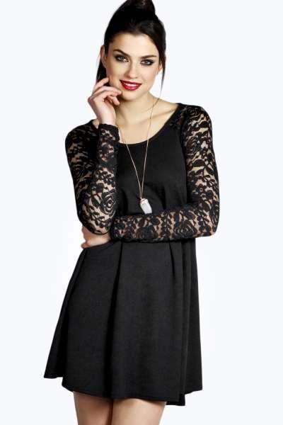 afd46e562703 Aaliyah Long Sleeve Lace Swing Dress at boohoo.com