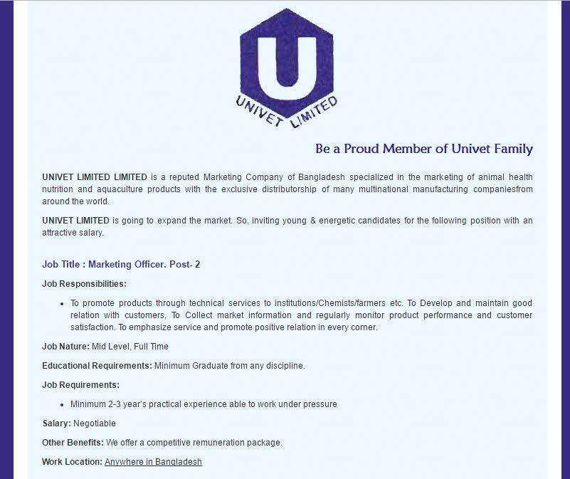 Univet Limited Limited Marketing Officer Job Circular January