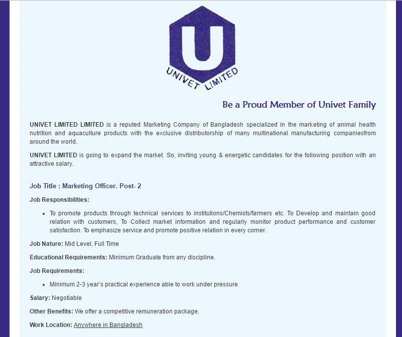 UNIVET LIMITED LIMITED Marketing Officer Job Circular January 2017