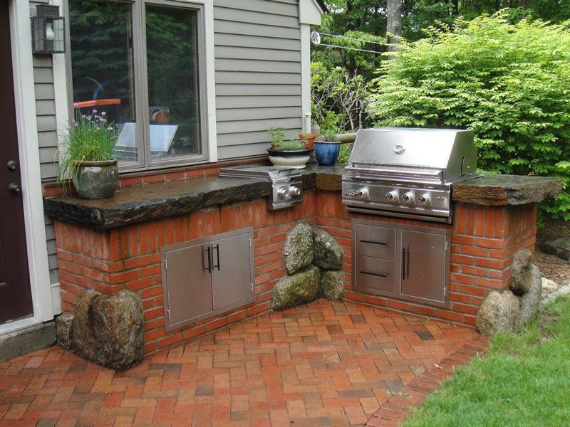 Best red brick outdoor patio furniture google for Outdoor kitchen brick design