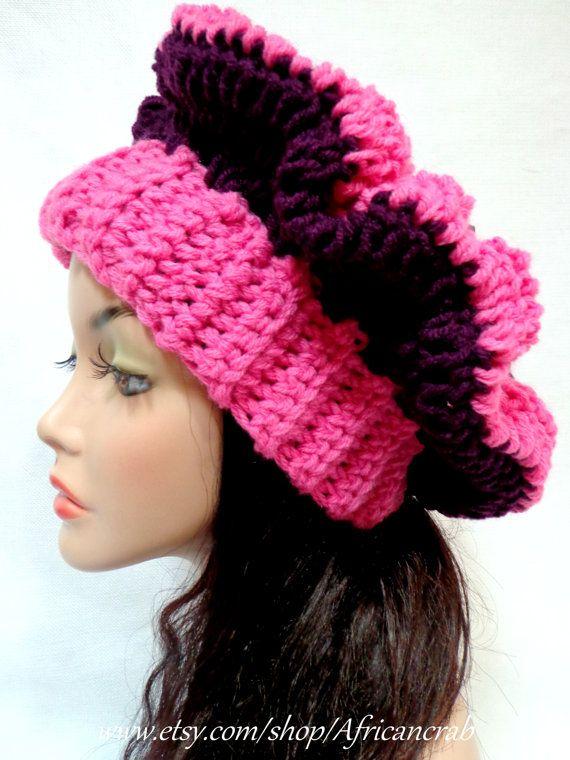 Pink and Royal Purple Crochet Beret. $18.00, via Etsy.
